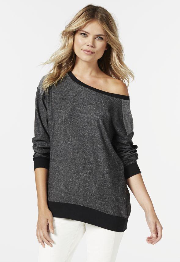 b9f270589bd41 Slouchy Sweatshirt in black heather - Get great deals at JustFab