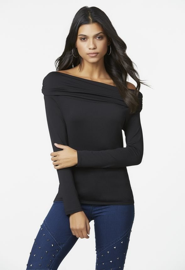 Ruched Off The Shoulder Top in Black - Get great deals at JustFab 97d658155
