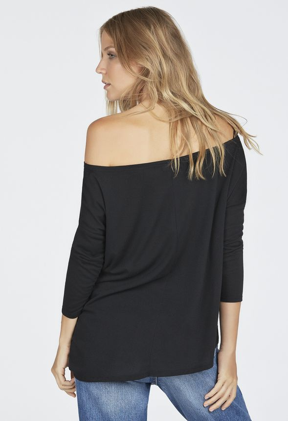 b773f2bcfebc5 Slouchy 3 4 Sleeve Off Shoulder Top in Black - Get great deals at ...