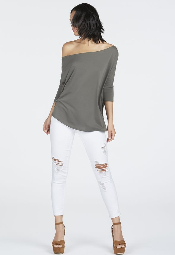 2e4386e3ab799 Slouchy 3 4 Sleeve Off Shoulder Top in dark olive - Get great deals at  JustFab