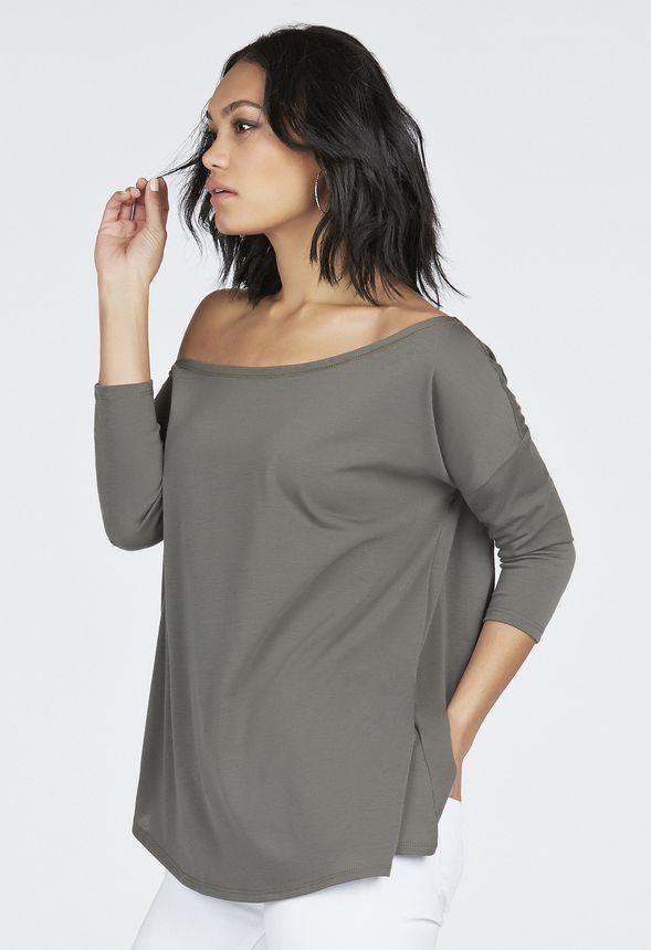 ba09702bb31f4 Slouchy 3 4 Sleeve Off Shoulder Top in dark olive - Get great deals ...