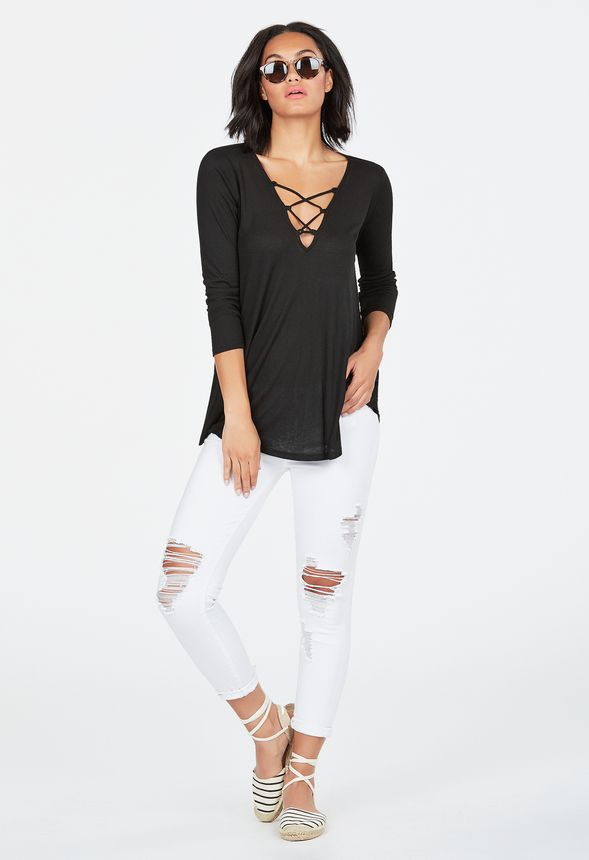 0e8a6bd1ab06 Lace Up Swing Top in Black - Get great deals at JustFab