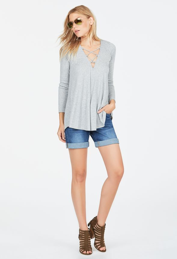 32fa7b429bd9 Lace Up Swing Top in Heather Grey - Get great deals at JustFab