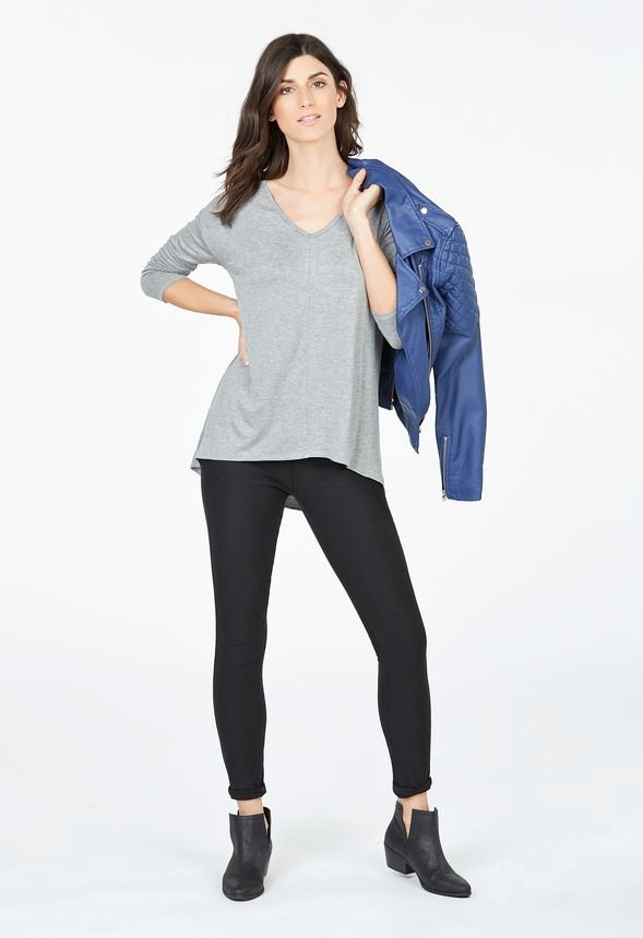 fa0b6907e98 V-Neck Hi-Low Tunic in Heather Grey - Get great deals at JustFab
