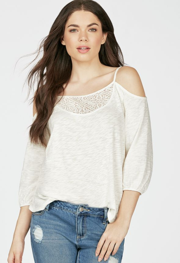 dc9218d21ad752 Cold Shoulder Top in Off-White - Get great deals at JustFab