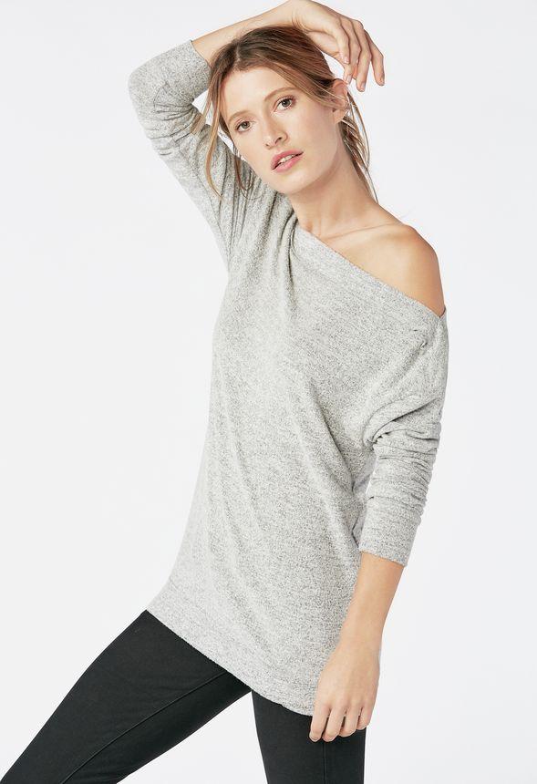 f0444620b4c5d Off Shoulder Sweatshirt in MEDIUM GREY - Get great deals at JustFab