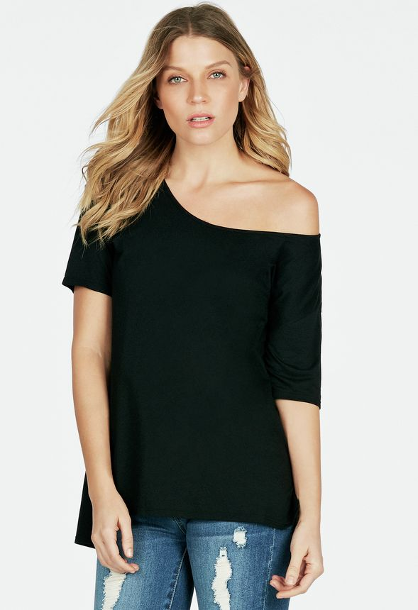 4eba220ff81 Slouchy Off the Shoulder Tee in Black - Get great deals at JustFab