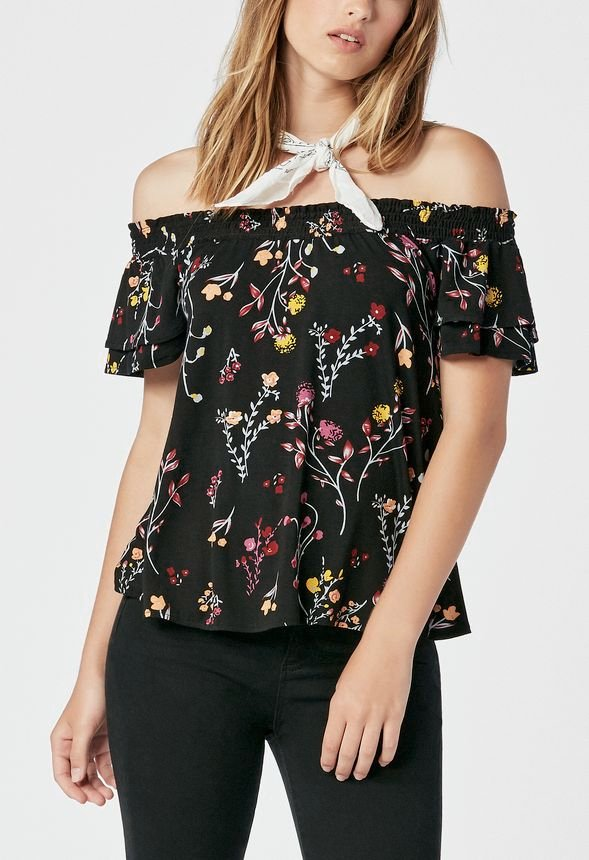 d72988df6a6b3 Smocked Top in Black Multi - Get great deals at JustFab