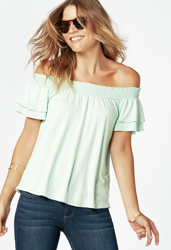 60341df06e51e Smocked Top in mist green - Get great deals at JustFab