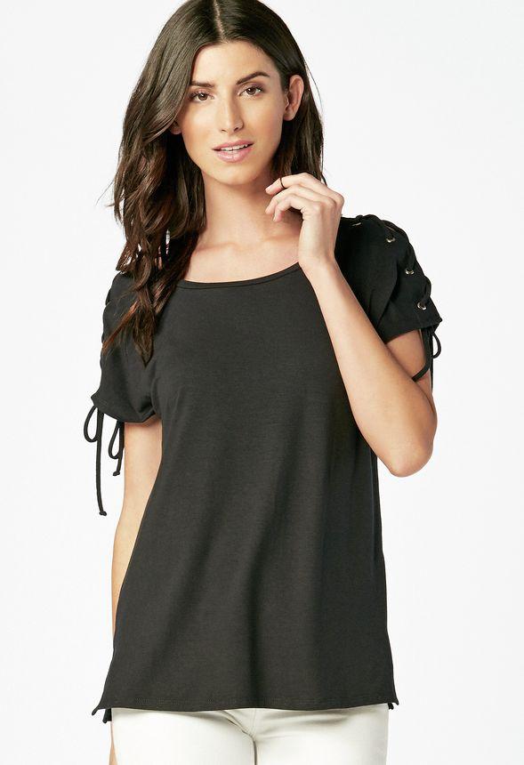 cdbe6887676 Shoulder Lace Scoop Tee in Black - Get great deals at JustFab