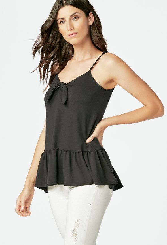 5d4a41801a34 Tie Front Tank in Black - Get great deals at JustFab