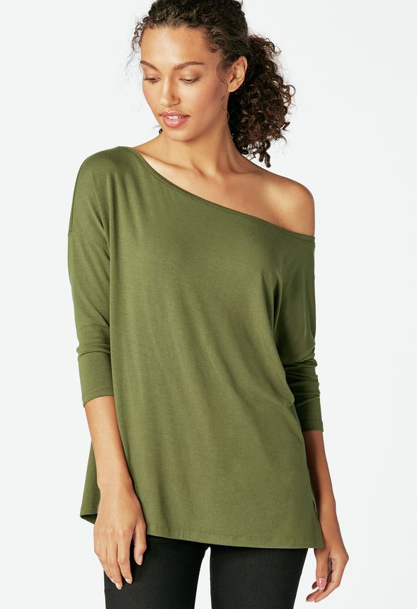 ed4281b6 Slouchy Off Shoulder Tee in Dark Olive - Get great deals at JustFab