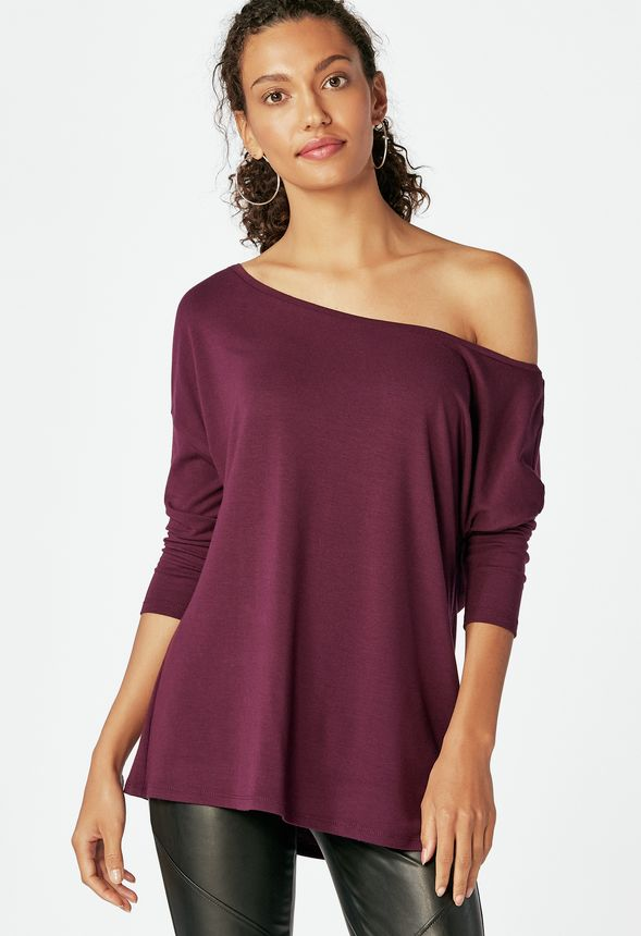 541767d3 Slouchy Off Shoulder Tee in Boysenberry - Get great deals at JustFab