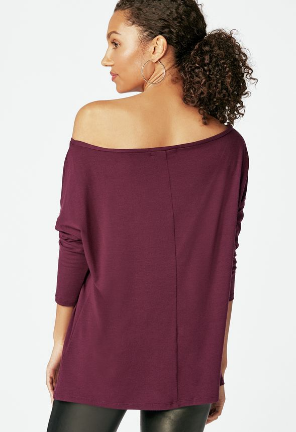 d0358149d0d44 Slouchy Off Shoulder Tee in boysenberry - Get great deals at JustFab
