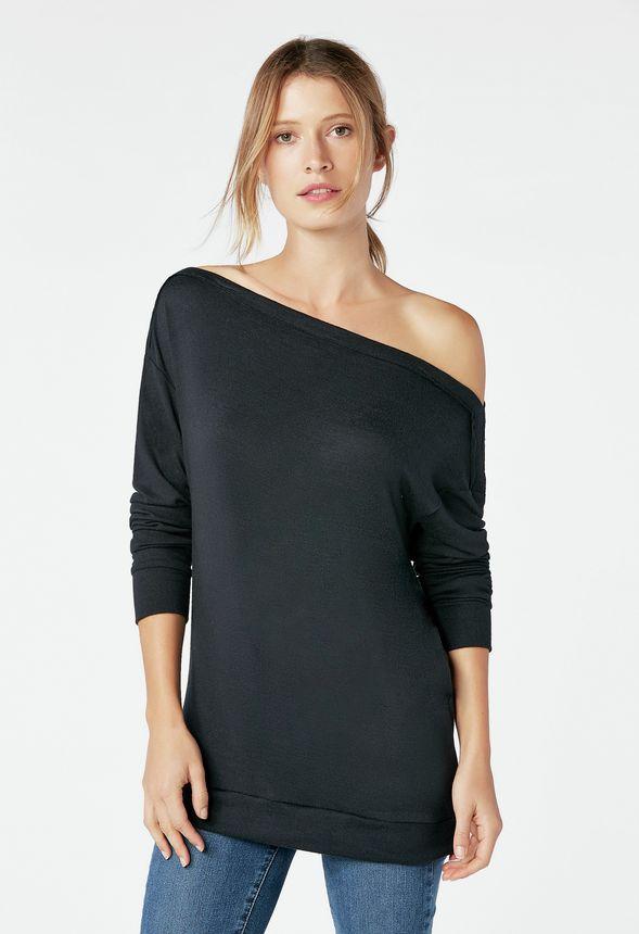 d67ac031657a1 Off Shoulder Sweatshirt in Black - Get great deals at JustFab