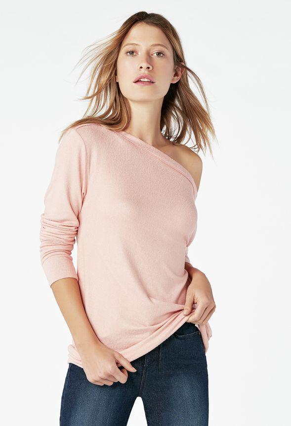 69db985da3747 Off Shoulder Sweatshirt in mellow rose - Get great deals at JustFab