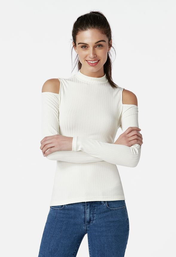2e8ba3a087aa49 Back Tie Mock Neck Top in WINTER WHITE - Get great deals at JustFab