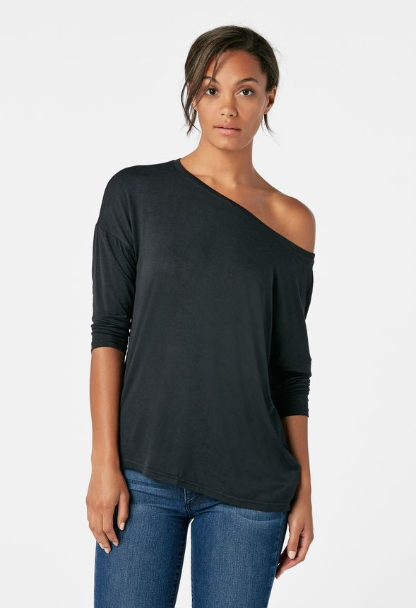 12cb22738b581e Off Shoulder Tee in Black - Get great deals at JustFab