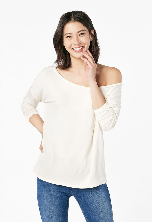 f31f2846e372d Off Shoulder Tee in Off-White - Get great deals at JustFab