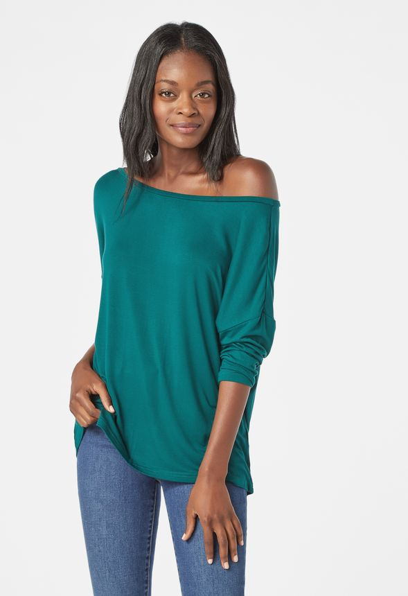 46e2322405a Off Shoulder Tee in June Bug - Get great deals at JustFab