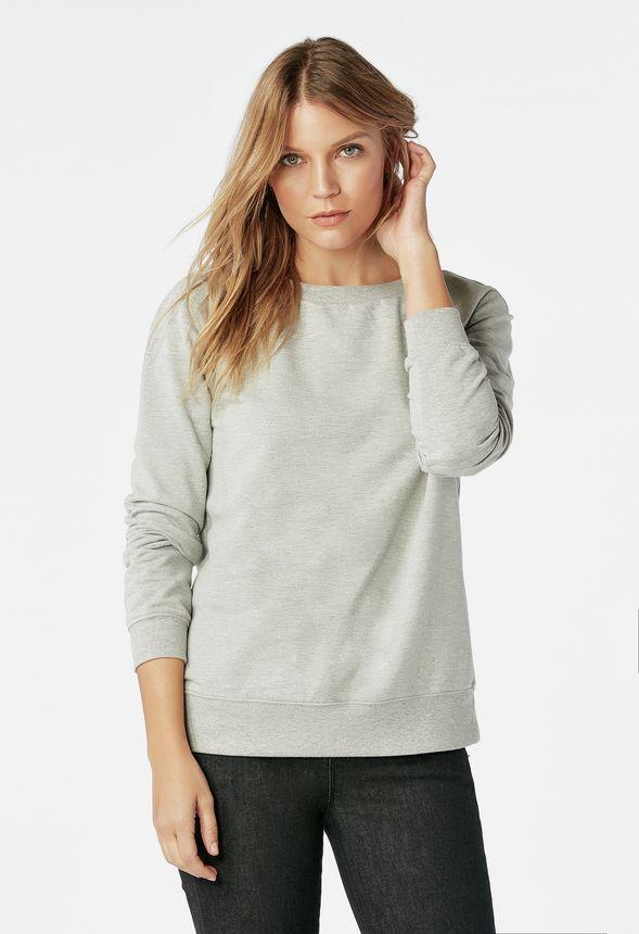 fa36deed87fb5e Feminine Sweatshirt in light heather grey - Get great deals at JustFab