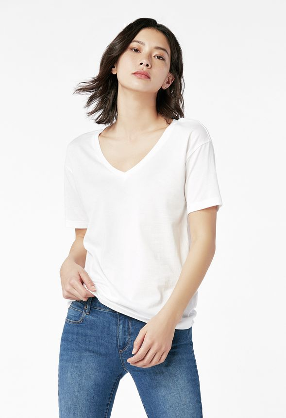 caacbcbccbe V-Neck Tee in OFF WHITE - Get great deals at JustFab