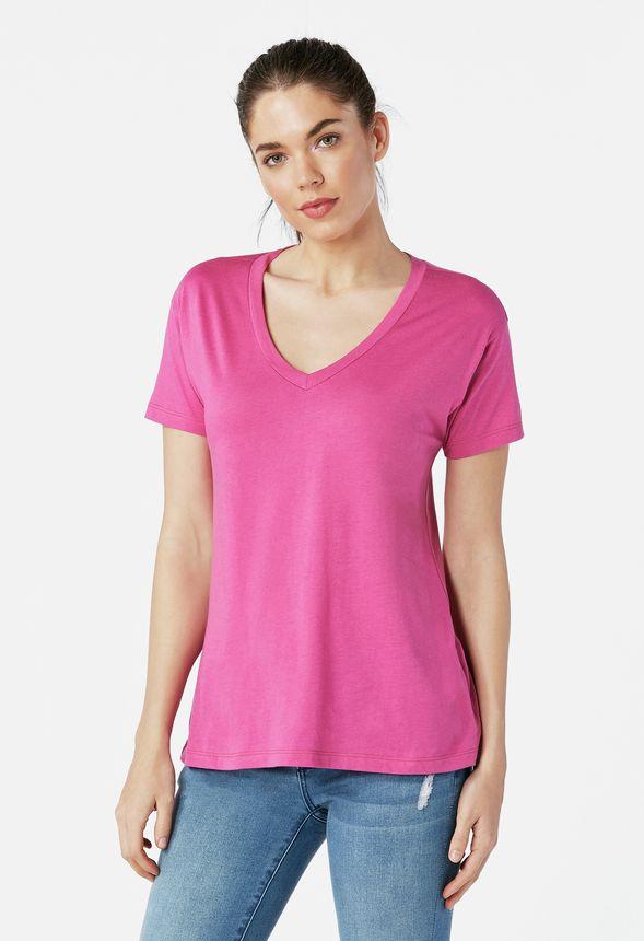 cd303766424e99 V-Neck Tee in rose violet - Get great deals at JustFab
