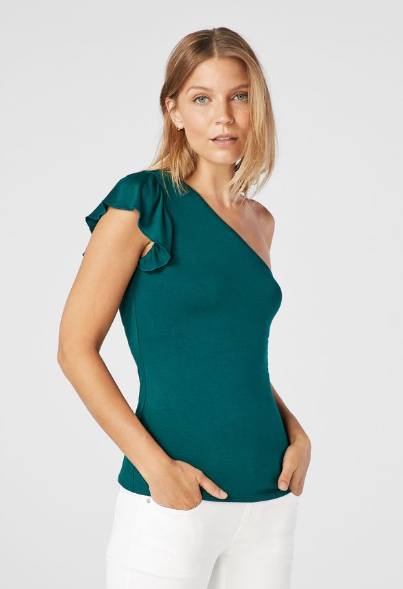 cab24a707f94b Ruffle One Shoulder Knit Top in winter green - Get great deals at JustFab