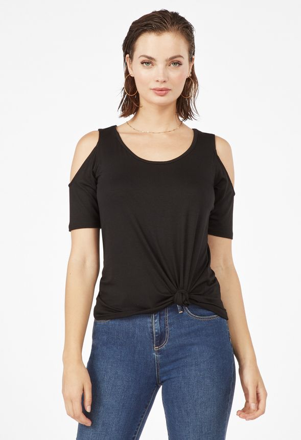 Cold Shoulder Knit Top in Black - Get great deals at JustFab d29d9ec66