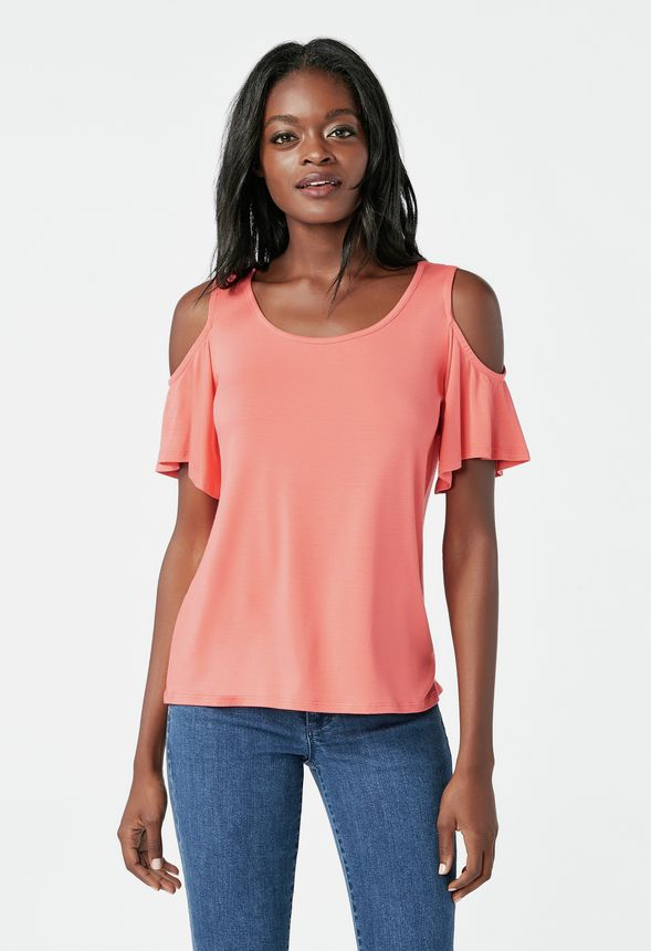 9139a798e54d79 Cold Shoulder Knit Top in passion fruit - Get great deals at JustFab