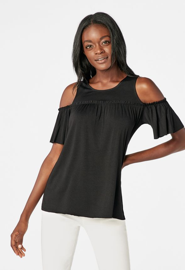 b29c157b7128bd Cold Shoulder Top in Black - Get great deals at JustFab