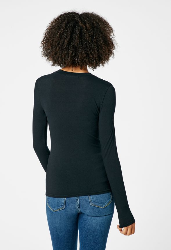 d553c2fadd0 Long Sleeve Layering Tee in Black - Get great deals at JustFab