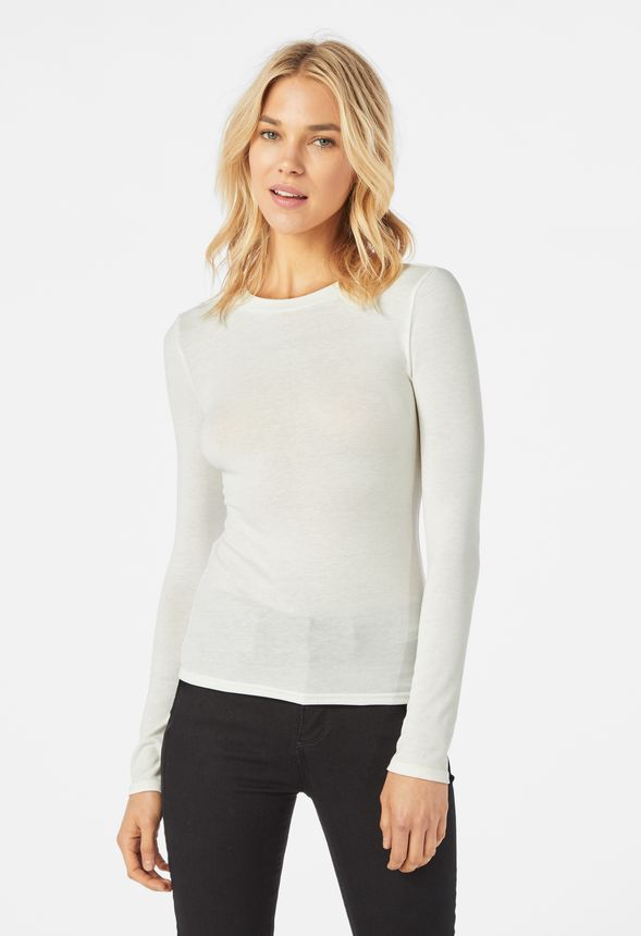b0dd3773465 Long Sleeve Layering Tee in White - Get great deals at JustFab