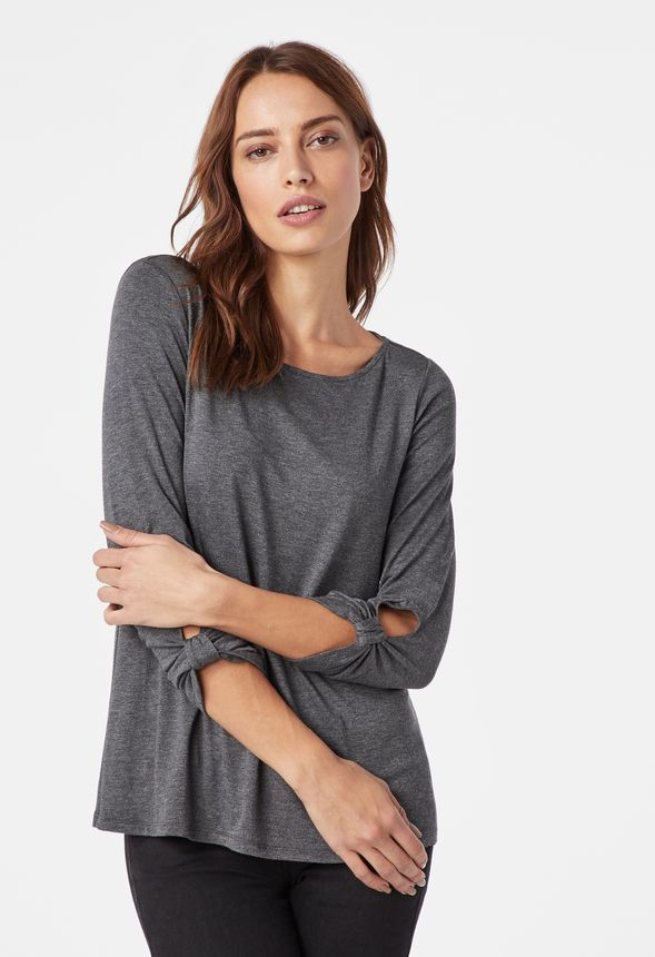 389c23c6c35020 Long Sleeve Top With Twist Detail in charcoal heather grey - Get great deals  at JustFab