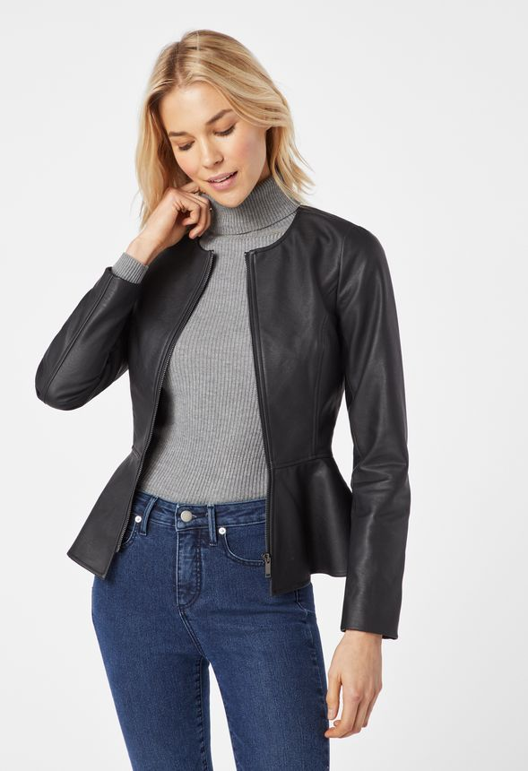 6be3d4111ab Peplum Faux Leather Jacket in Black - Get great deals at JustFab