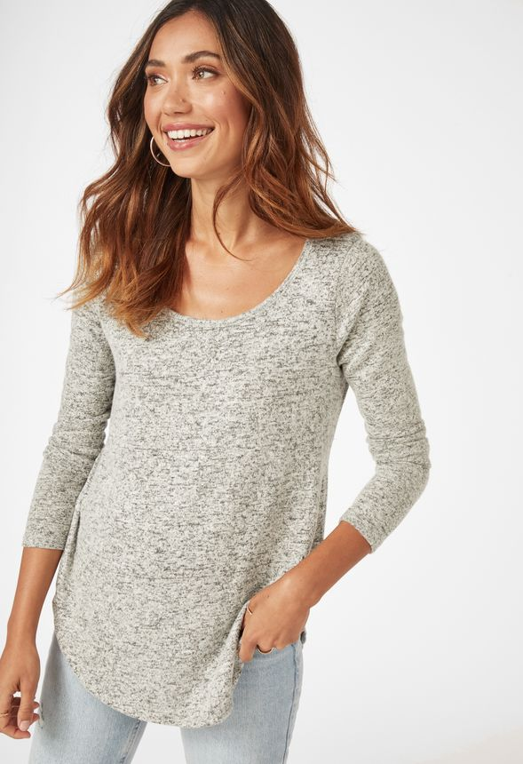 c3e11c545d Cozy Brushed Hacci Top in Heather Grey - Get great deals at JustFab
