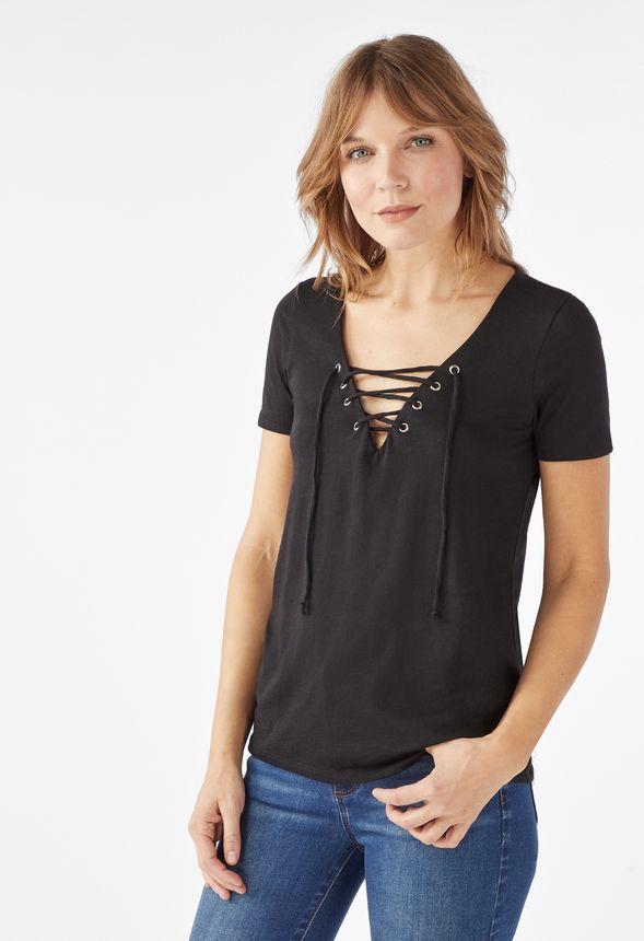 6b28dd32942 Lace Up Slub Knit Tee in Black - Get great deals at JustFab