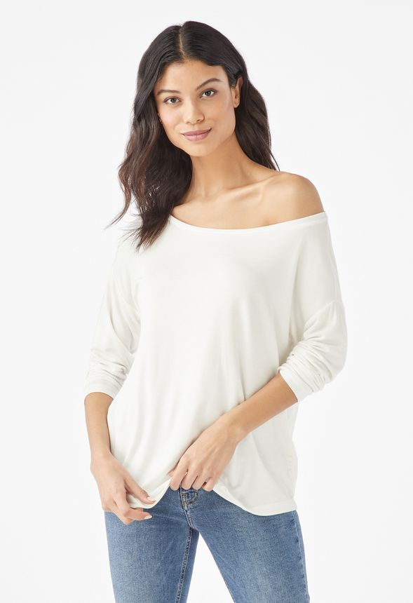 ec3b0258ab008a Easy Off Shoulder Tee in White - Get great deals at JustFab
