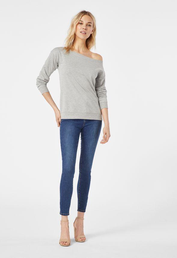575c432bd60ef4 Off Shoulder Sweatshirt in heather grey - Get great deals at JustFab