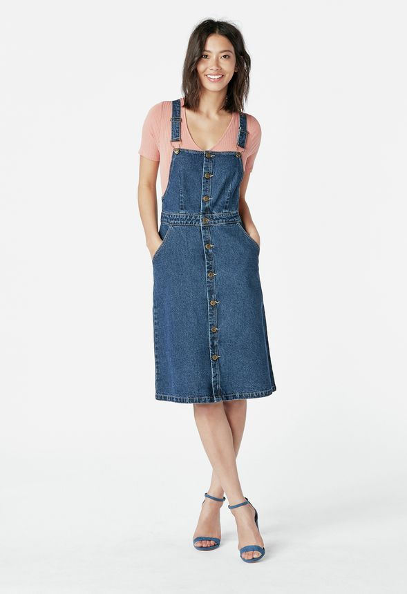 c975e8fab6 Overall Denim Dress in Ranger Blue - Get great deals at JustFab