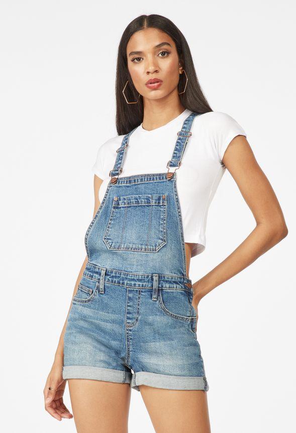 49181fa36e Short Denim Overalls in LAGUNA BLUE - Get great deals at JustFab