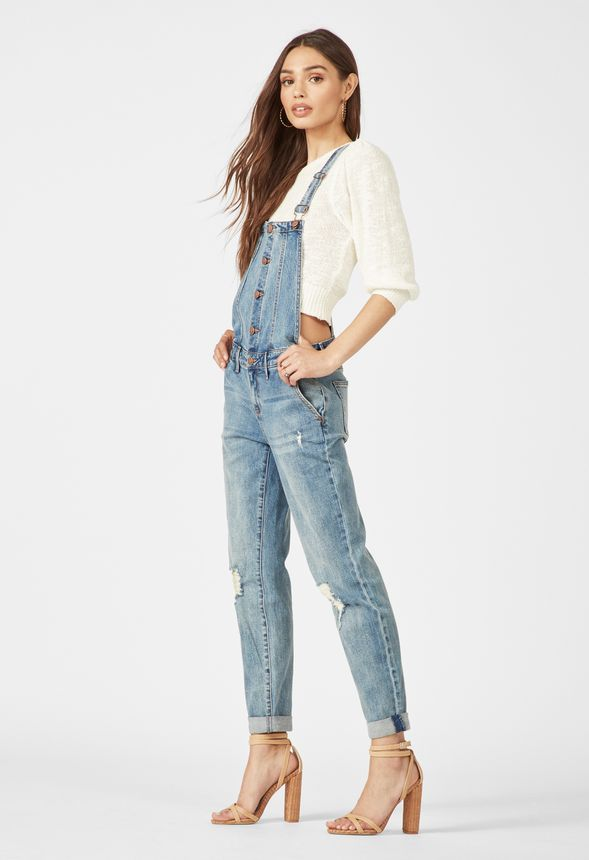 Button Front Relaxed Denim Overalls by Justfab