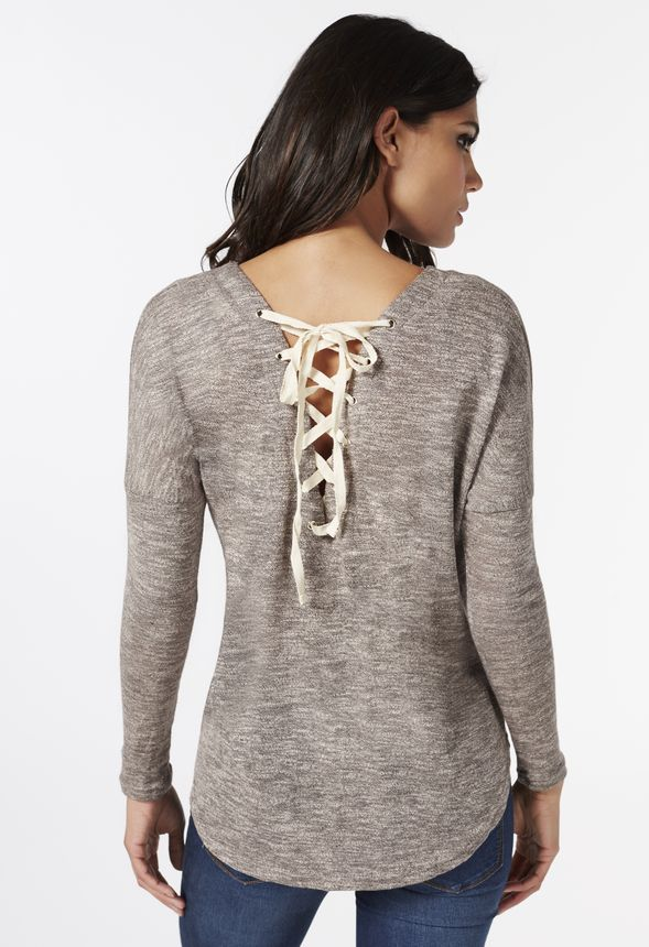 b88c98cde6 Lace Up Tie Back Sweater in heather grey - Get great deals at JustFab
