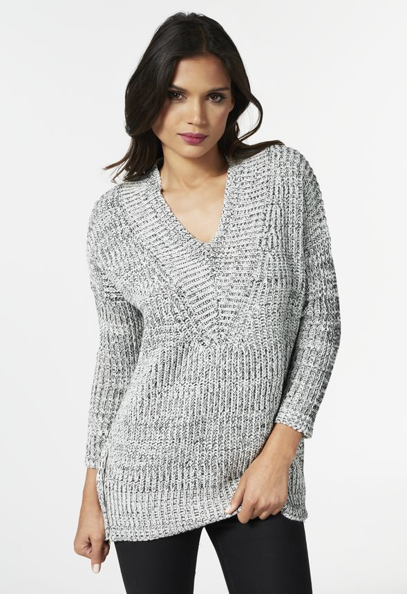 26b5c2cce0ce07 Zipper Front Marled Sweater in Black Multi - Get great deals at JustFab