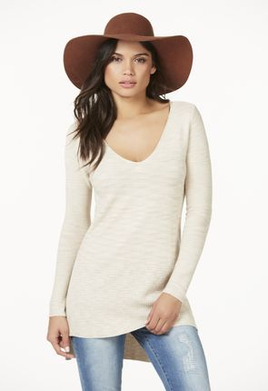 Space Dye V-Neck Tunic in Beige Multi - Get great deals at JustFab