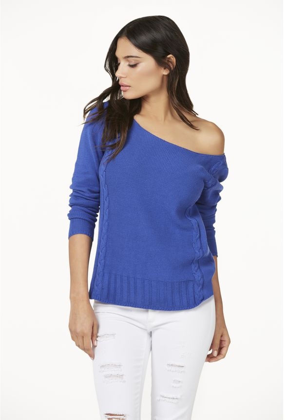f0131a3a57665 Slouchy Off Shoulder Sweater in Cobalt - Get great deals at JustFab