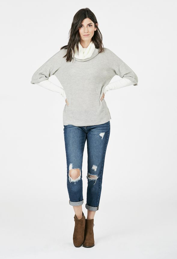 ad9776a3b61 Double Layered Sweater in grey  white - Get great deals at JustFab