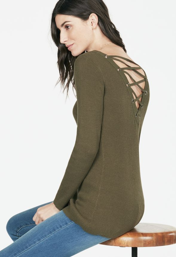 fbed15157d7 Lace-Up Back Sweater in Lace-Up Back Sweater - Get great deals at ...