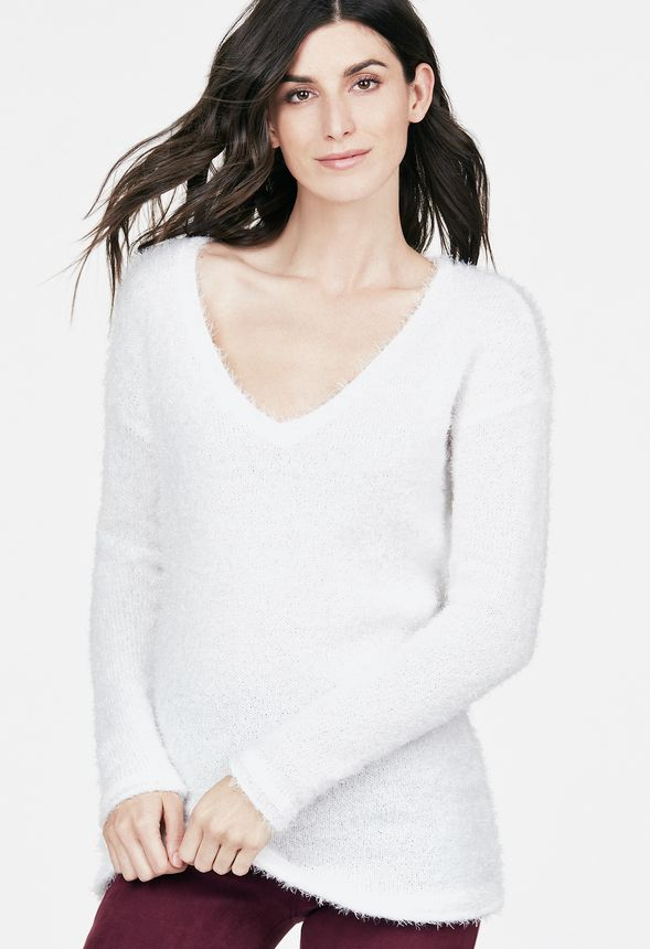 7782b55cc0445b Low V-Neck Fuzzy Sweater in WINTER WHITE - Get great deals at JustFab