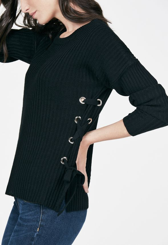 Side Lace Up Sweater in Black - Get great deals at JustFab 5908e8610